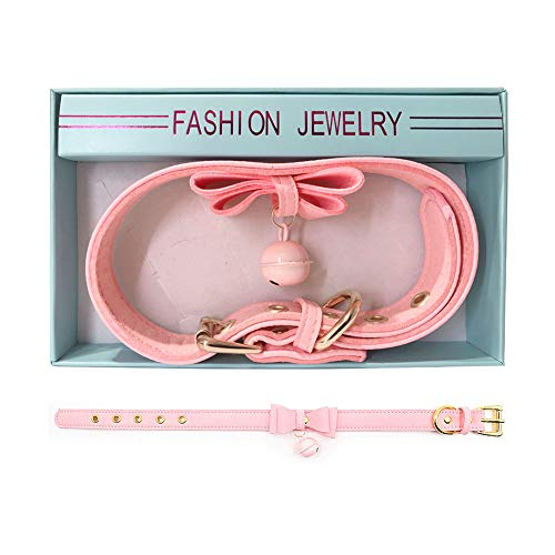 PU Leather Bow Collar Necklace Choker with Bell Cat Cosplay Necklace (Pink) by Comebuy