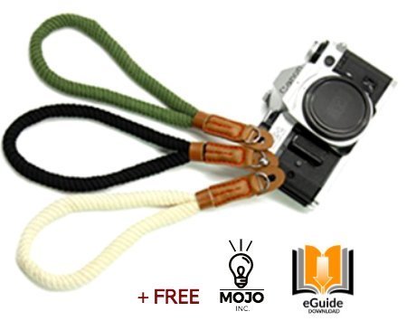 Camera Wrist Strap, Quality Cotton, Comfortable and Durable Stylish Adjustable Hand Safety Strap, Leather Camera Strap, Vintage, Easy To Attach, Cameras , Sony, Fuji, Panasonic, Nikon, Olympus, (Leather Hand Strap)