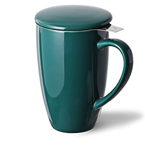 SWEEJAR Porcelain Tea Mug with Infuser and Lid,Teaware with Filter, Loose Leaf Tea Cup Steeper Maker, 16 OZ for Tea/Coffee/Milk/Women/Office/Home/Gift