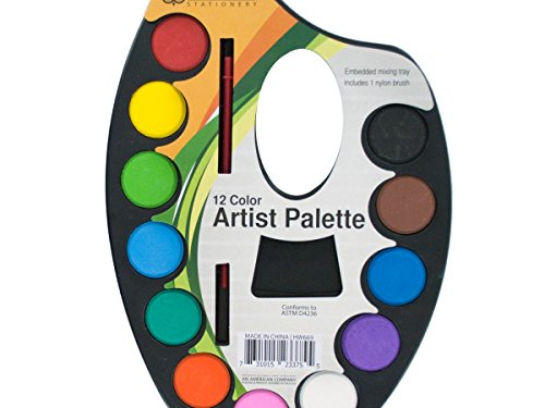 Watercolor Paint Artist Palette With Mixing Tray - Pack of 72 by bulk buys