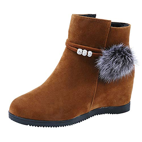 Duseedik Ankle Bootie, Women Suede Hairball Stretch Boots Round Toe Wedges Shoes Pure Color Zipper Martin Boots