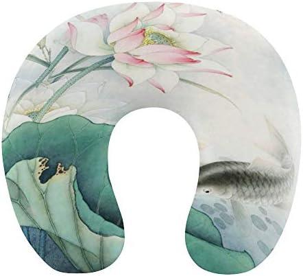 中華風 蓮と鯉 水墨画ネックピロー U型まくら 携帯枕 携帯収納便利 ネック枕 オフィス 飛行機 新幹線 出張