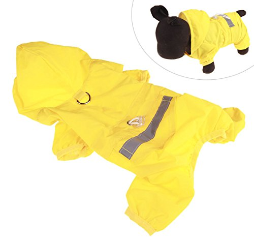 Xiaoyu Adjustable Pet Dog Waterproof Jumpsuit Raincoat Jacket with Safe Reflective Strips, Yellow, M by Xiaoyu