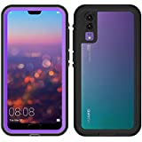 Waterproof Case for Huawei P20 Pro 360 Full Cover Protection Shell for Huawei P20 / P20 Pro Diving Underwater Shockproof Coque (Purple,Huawei P20 PRO)