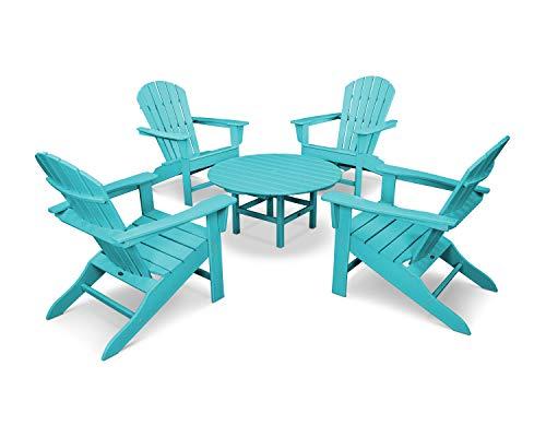 POLYWOOD PWS105-1-AR South Beach 5-Piece Conversation Group Adirondack Seating Set, Aruba