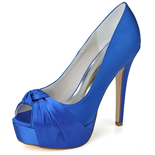 L@YC Zapatos De Boda De La Mujer Primavera Verano OtoñO Plataforma Satinado Boda Plataforma De TacóN Fino / Multicolor / De Gran TamañO Blue
