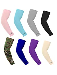 Kmmol UV Protection, Compression & Cooling Arm Sleeves for Cycling/Golf/Basketball/ Other Sports (8 pairs)