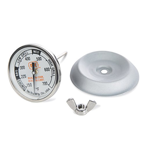 PK Grills PK99085 Thermometer Kit by Tel-Tru, Includes Thermometer, Wing Nut, and Silver Flashing