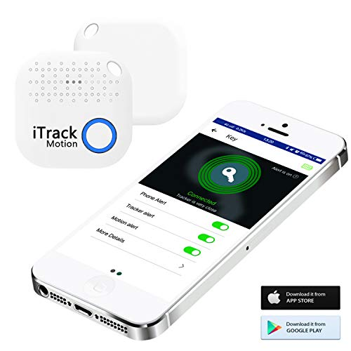iTrack Motion Key Finder Bluetooth, Wireless Smart Keys Tracker Locator Device for Phone, Kids, Keychain, Wallet, Bags, Purse, Luggage (2018 New Designed) - White