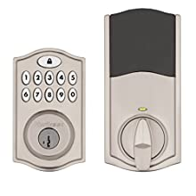 Kwikset SmartCode 914 Keypad Smart Lock (Amazon Key Edition – Amazon Cloud Cam required), Compatible with Alexa, featuring SmartKey in Satin Nickel