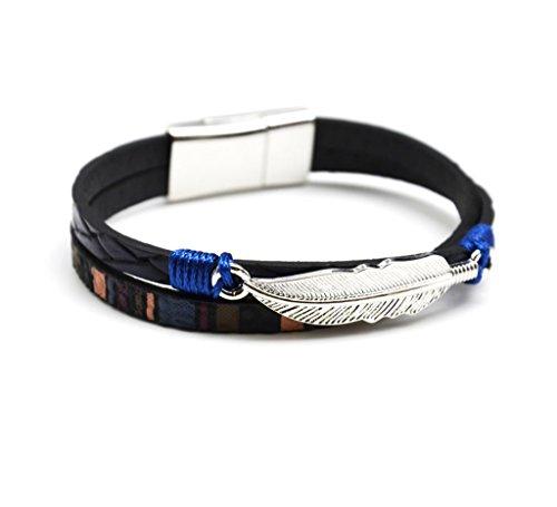 BC1022F - Bracelet 2 Rangs Cuir Tressé et Motif Péruvien Bleu Marine avec Plume Métal Argenté - Mode Fantaisie