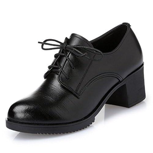 Mme printemps et chaussures d'automne épais avec les chaussures à talons ronds chaussures chaussures en dentelle simples , US6 / EU36 / UK4 / CN36
