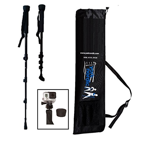 York Nordic Collapsible Trekking & Hiking Poles Digital Camera Mount, Flip Locks Rubber Feet, Pair by York Nordic