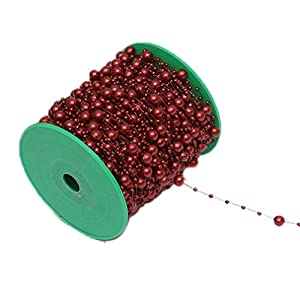 200 Feet Burgundy Maroon DIY Party Decoration ABS Artificial Pearl Beaded Flower String Garland for Bridal Wedding Bouquet Tea Party Christmas Holiday Gift Wrapping Supplies 106