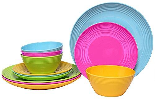 Melange 12-Piece  Melamine Dinnerware Set (Solids Collection )   Shatter-Proof and Chip-Resistant Melamine Plates and Bowls   Color: Multicolor   Dinner Plate, Salad Plate & Soup Bowl (4 Each)