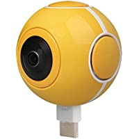 WiFun Panoramic Camera 720 Degree HD mini VR Camera with 210 Degree Dual Wide Angle Fisheye Lens Video Photo Dual Spherical Lens 360 Degree Action Camera for Android Phones (Yellow)