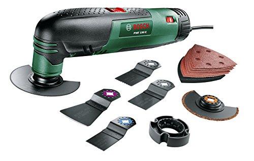 Bosch DIY Multifunktionswerkzeug PMF 190 E Set, Säge- und Schleifblatt-Set, Tiefenanschlag, Koffer (190 W, 15.000-21.000 min-1 Leerlaufdrehzahl)