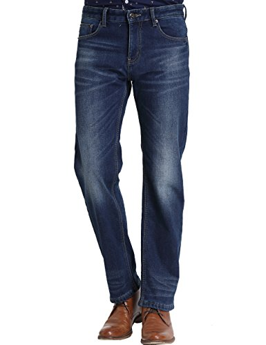 SSLR Men's Regular Fit Straight Leg Thermal Fleece Lined Jean (W40 x L32, Blue 1)