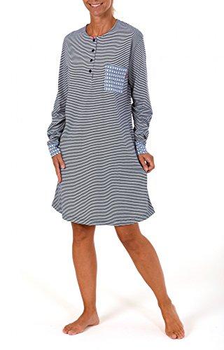 Cooles Damen Nachthemd langarm mit Bündchen - 261 213 90 101, Größe:44/46;Farbe:blau