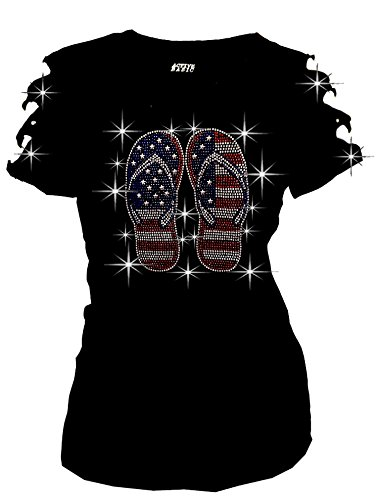 4th-of-July-USA-Flag-Flip-Flop-Bling-Rhinestone-T-Shirt-Ripped-Cut-Out