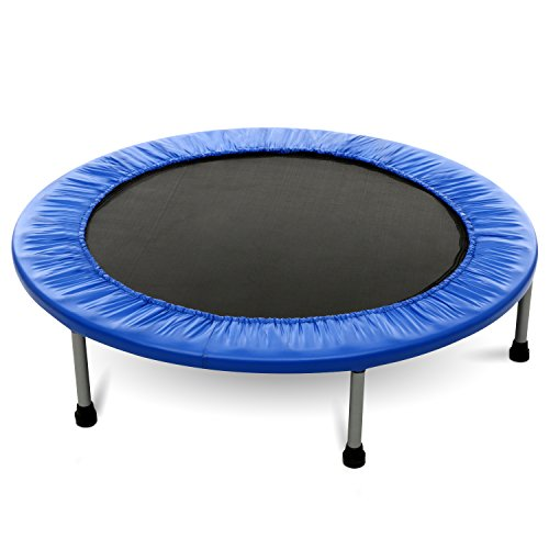 Moroly Folding Trampoline Mini Rebounder Trampoline with Safety Pad for Exercise Workout Cardio Training,Max Load 220lbs (Blue, 38inch-Folding twice)