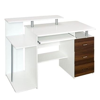 hjh OFFICE STELLA 673951, Escritorio mesa de ordenador con cajonera bandeja para teclado, madera blanco / nogal