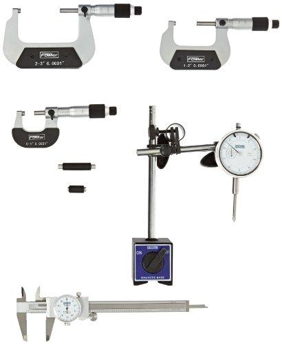 Fowler 52-229-780 Indicator, Mag Base, Dial Caliper & Micrometer Combo Set ()