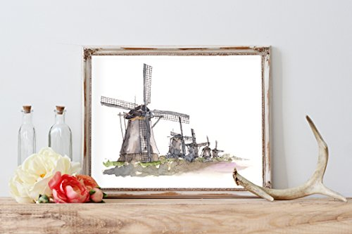 Watercolor Dutch Windmill Home Print | 8 x 10 | Wall - Windmill Watercolor