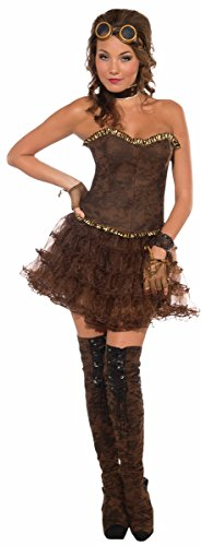 Forum Gold Trim Corset Style Costume Top, Brown, One Size fits up to 14/16 -