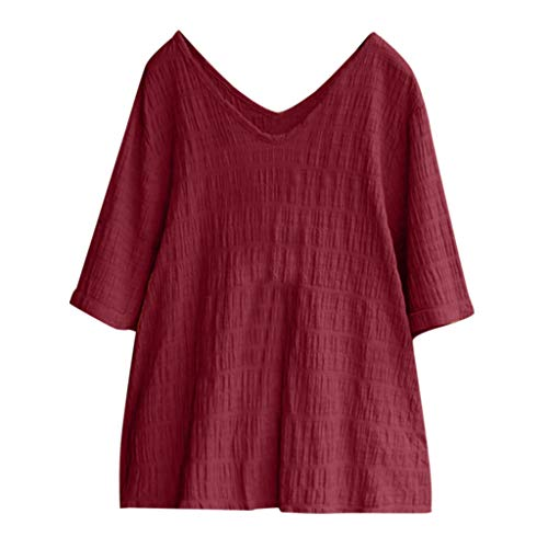 (QIQIU Womens New Cotton Linen Tops Vintage Solid Loose V-Neck Short Sleeve Loose Summer Soft Blouses T-Shirt Wine)