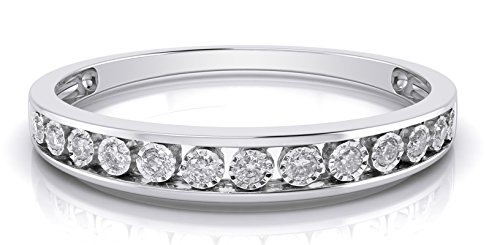 10k White Gold 3mm Channel Set Diamond Band Wedding Anniversary Ring (0.15 ct I-J Color Clarity Si2) (white-gold, 6.5) by Buy Jewels (Image #1)