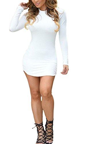 Romastory Women's Winter Casual Long-Sleeved Round Pendulum Club Mini Bodycon Dress(S, White)