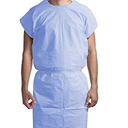 Dynarex Exam Gown 3 ply T/P/T Universal (Blue) 50/Cs