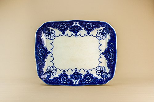 Antique Art Nouveau Dish Floral Pottery Flow Blue Serving PLATTER Beautiful Large Fruit English Late 19th Century LS