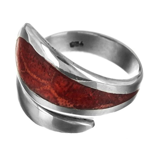 8 Handmade Red Coral 925 Sterling Silver Ring ()