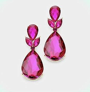 Orejas clips gotas de acero inoxidable perlas fucsia rosa