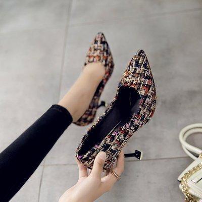 Xue Qiqi Tipp Tipp Tipp fein mit High Heels Schuhe mit hellen Nähten Schuhe weiblich 36 Schwarz farbig 9 cm 460f5a