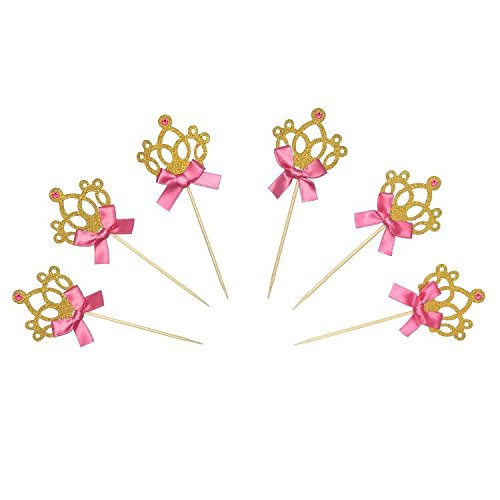 Gold Glitter Princess Crown Tiara Cake Cupcake Toppers Picks for Wedding Birthday Baby Shower Kids' Party Decorations 24 PCS -