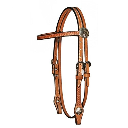 Circle Y 5/8inch Border Tooled with Tulip Conchos Browband Headstall 04 Reg Oil ()