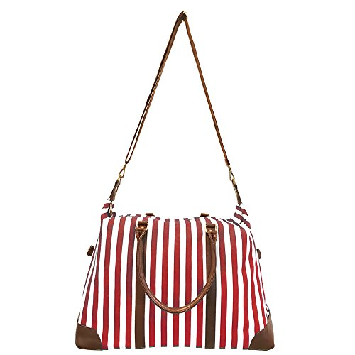 Red Travel Tote, Lulu Dharma Womens Striped Weekender Bag, Duffle Bag, Overnight Bag, Travel Bag, Luggage, Suitcase, Oversized Bag, Carry On Luggage, Luxury Bag, Gym Bag, Diaper Bag, Tote Bag by Lulu Dharma