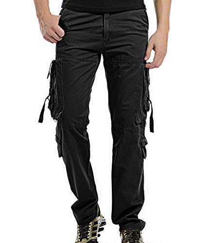 LANBAOSI Mens Cotton Cargo Pants Multi Pocket Military Army Combat Work Trousers Black