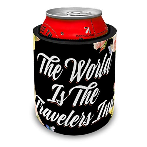 NEONBLOND Floral Border The World Is The Travelers Inn Slap Can Cooler Insulator Sleeve