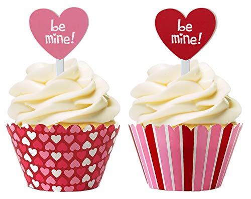 Valentine's Day Hearts & Stripes Cupcake Wrappers & Conversation Heart Toppers - 24 Wraps & 24 ()