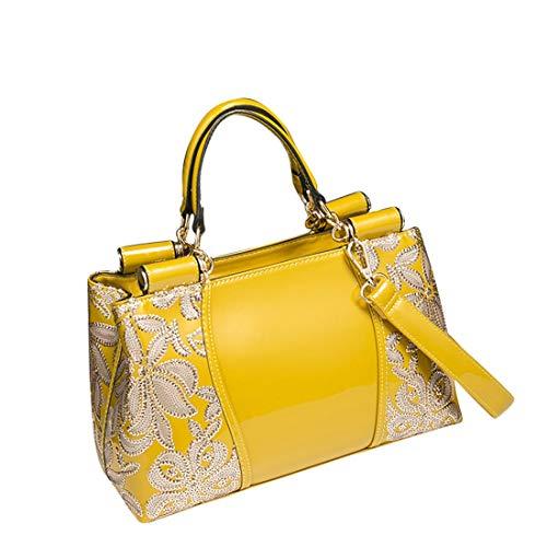 Ricamata Borsa In Yellow Mano Per Tracolla Ploekgda Yellow Pelle color Verniciata A PIx4YWd