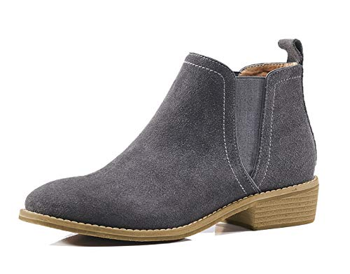 Womens lite Classic Chelsea Fuax Gray Fur Winter Fall Leather Women U With Comfortable Suede Lining Boots Ankle Booties 5g1dq5wn
