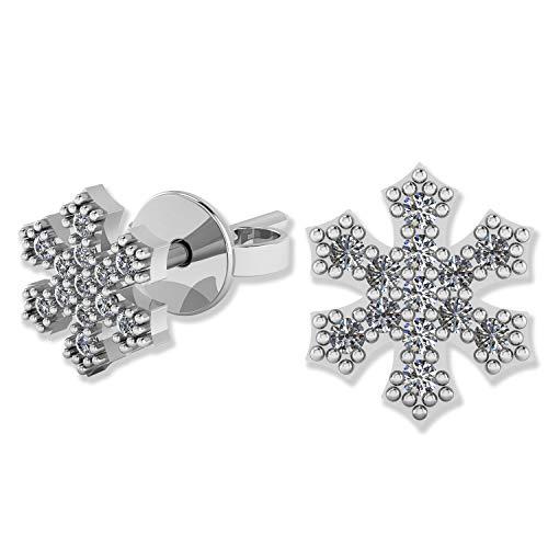 .925 Sterling Silver & Pavé-Set Cubic Zirconia Petite Stud Earrings - Winter Snowflake (Earrings Winter Snowflake)