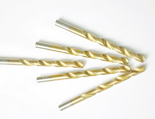 DRILLFORCE (5 Pcs) 1/2 in. x 16 in. HSS Titanium Coated Drill Bits, Jobber Length, Straight Shank, Metal drill for General Purpose (16 Jobber Drill Bit)