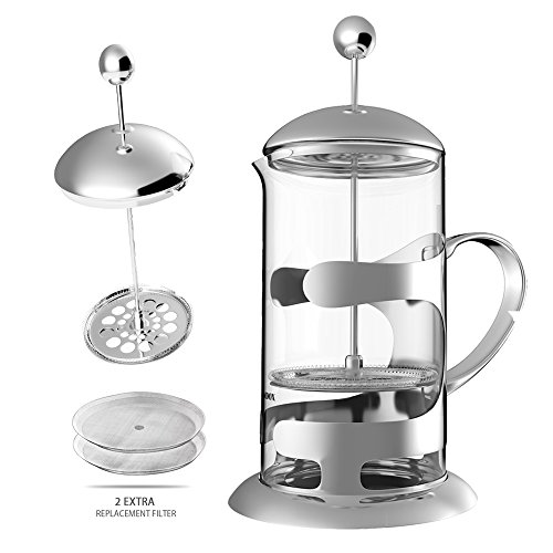 Moroly French Press Espresso Coffee Maker with Reusable Filter Stainless Steel Heat Resistant Glass,Small French Press Perfect for Morning Coffee, 1 liter 8 Cup(34 Oz) (Clear)