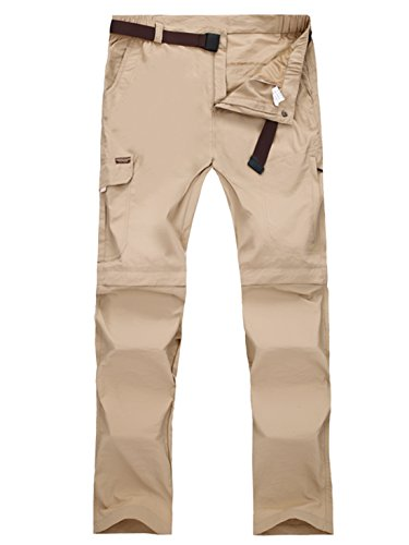 Adjustable Waist Cargo Pants (Panegy Mens Tactical Pants Elastic Waist Cargo Pants Trouser Zip-Off Shorts Lightweight Khaki 3XL)