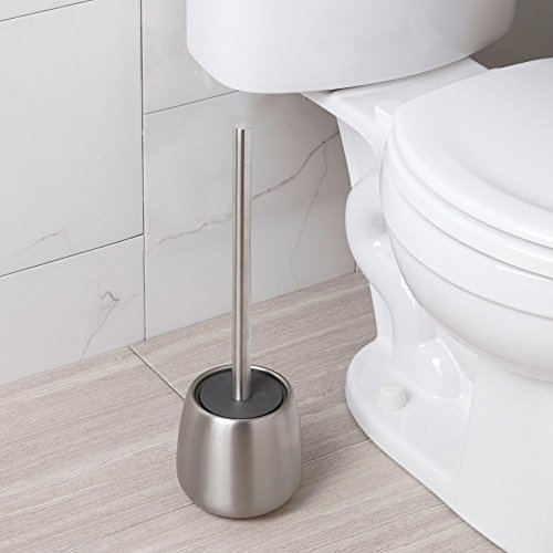 InterDesign Forma Brizo Toilet Bowl Brush and Holder for Bathroom Storage - Brushed Stainless Steel